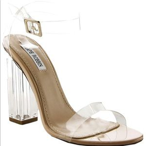BRAND NEW CLEAR CHUNKY HEELS SIZE 11